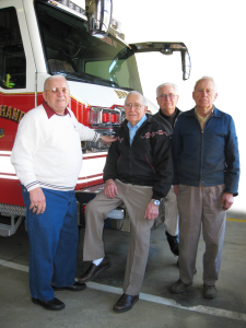 Senior Firemen Bud Shirk, Dave Haldeman, Les Fazekas, Glenn Siegrist and Dan Fisher (not pictured) gather at the Fire Hall to tell their stories of long years of service.