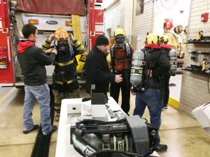 SCBA (self contained breathing apparatus) training on Jan. 19, 2016 with the new air packs recently purchased to replace the 16-year-old packs.