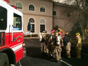 "Multi company training at Sight & Sound on Nov. 9, 2015. There were Sight & Sound employees hidden in various parts of the building and firefighters needed to locate them and ""rescue"" them."