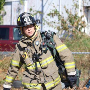 Firefighter dressed in gear
