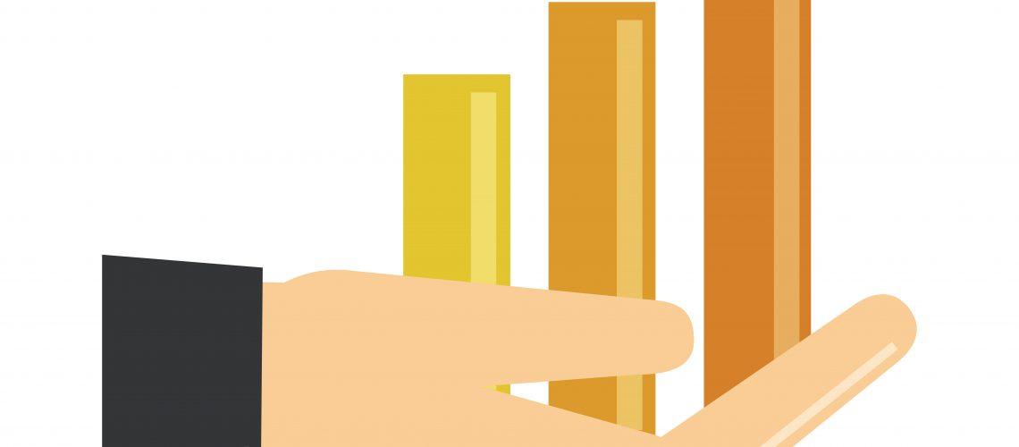 data analysis, hand statistics report financial vector illustration flat icon