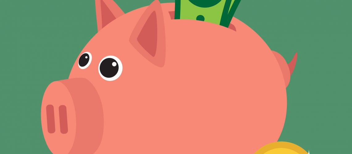 Save money with a piggy bank. Illustration in vectors.
