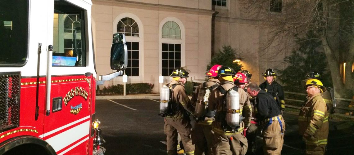 """Multi company training at Sight & Sound on Nov. 9, 2015. There were Sight & Sound employees hidden in various parts of the building and firefighters needed to locate them and """"rescue"""" them."""